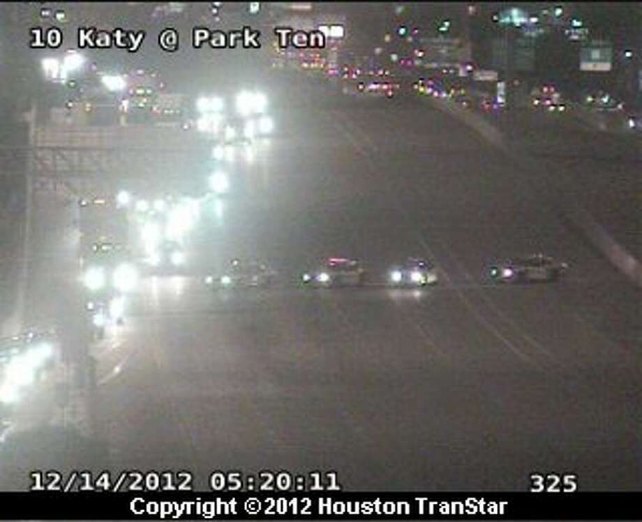Portions of the westbound Katy Freeway were shutdown in west Houston after a crash involving a big rig early Friday morning. Photo: Houston Transtar