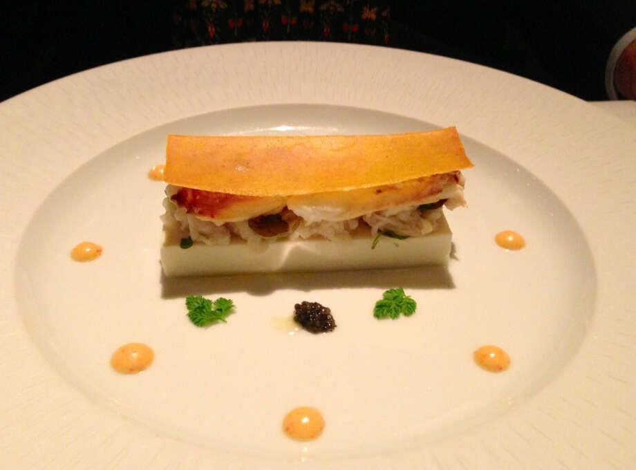 Crab with cauliflower panna cotta from La Folie