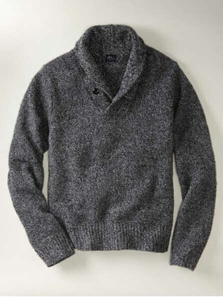 A Shawl-Collar SweaterThe slightly warmer antidote to a closet