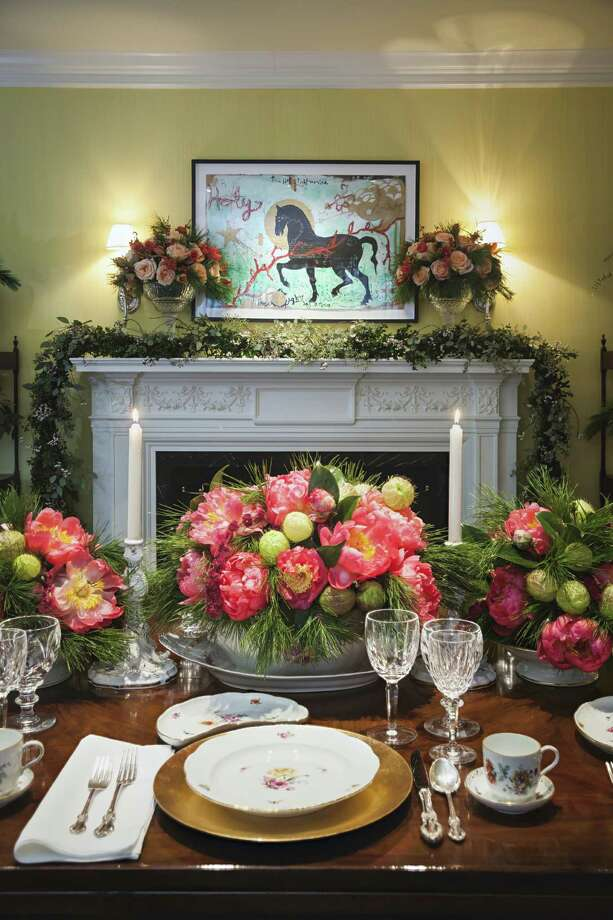 Clockwise from the top left: Lush greenery, florals and china paired with metallic charger plates by Rebekah Johnson. A kitchen Candy Land. Macaroon topiaries. Tasteful garland. Photo: Michael Paulsen, Staff / © 2012 Houston Chronicle