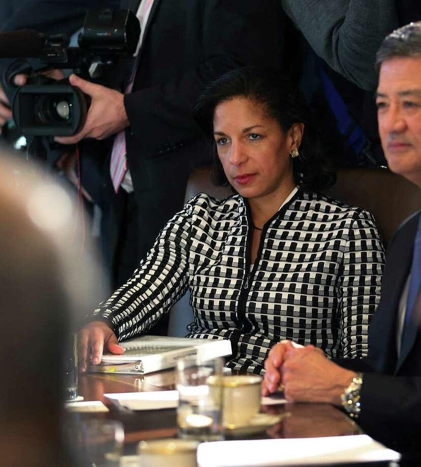 U.N. Ambassador Susan Rice meets with President Barack Obama during a Cabinet meeting in the Cabinet Room of the White House, Nov. 28, 2012. Rice withdrew from consideration for Secretary of State, the White House announced on Dec. 13. Photo: DOUG MILLS, New York Times / NYTNS
