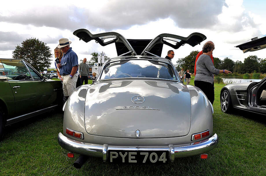"The car: Mercedes-Benz 300SL. The problem: Loss of stability in swing-axle suspension when the car is pushed hard. What Bey said: ""The gull-wing coupe was a handling nightmare."" Martin Pettitt/Flickr Creative Commons / Attributed License"