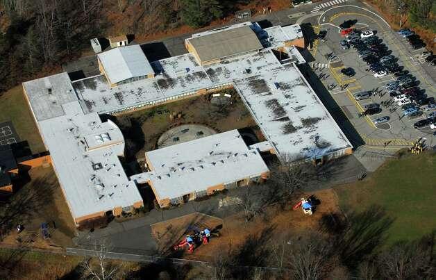 An aerial photo of Sandy Hook Elementary School in Newtown, Conn., on Dec. 14, 2012. Photo: Morgan Kaolian, Morgan Kaolian/AEROPIX / Connecticut Post Freelance
