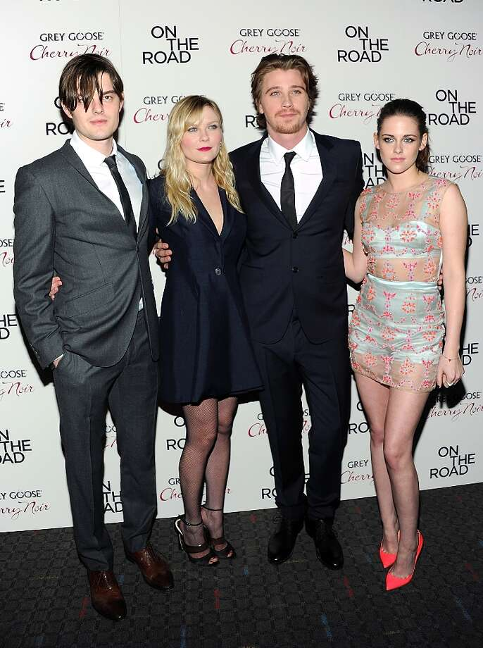 From left, actors Sam Riley, Kirsten Dunst, Garrett Hedlund and Kristen Stewart attend the premiere of On The Road at the SVA Theater on Thursday Dec. 13, 2012 in New York. (Photo by Evan Agostini/Invision/AP) Photo: Evan Agostini, Associated Press / Invision