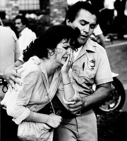 July 18, 1984: San Ysidro, Calif.   James Oliver Huberty, an out-of-work security guard, killed 21 people in a McDonald's restaurant. A police sharpshooter killed Huberty. Photo: Lenny Ignelzi, ASSOCIATED PRESS / AP1984