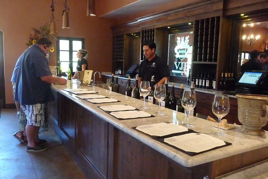 A bar at the far end of the market offers a taste of VJB wines, available only on premises or online. Photo: Jennifer Graue, VJB Cellars