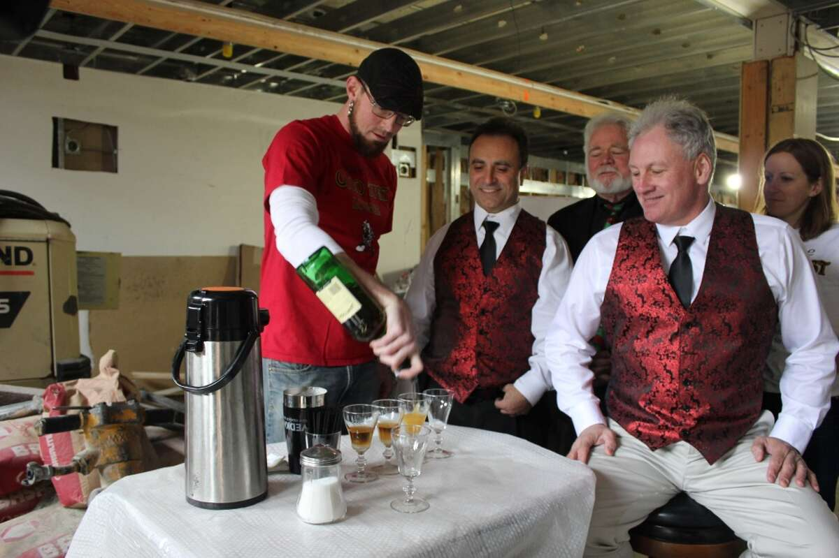 Pouring the first Irish coffee in the new space...