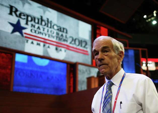 TAMPA, FL - AUGUST 28:  U.S. Rep. Ron Paul (R-TX) walks the arena floor during the second day of the Republican National Convention at the Tampa Bay Times Forum on August 28, 2012 in Tampa, Florida. Today is the first full session of the RNC after the start was delayed due to Tropical Storm Isaac. Photo: Chip Somodevilla, Getty Images / 2012 Getty Images
