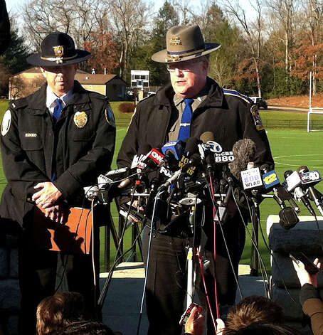 State Police spokesman Lt. J. Paul Vance speaks about shootings at the Sandy Hook Elementary School Friday, Dec. 14, 2012. Photo: Michael Duffy / The News-Times