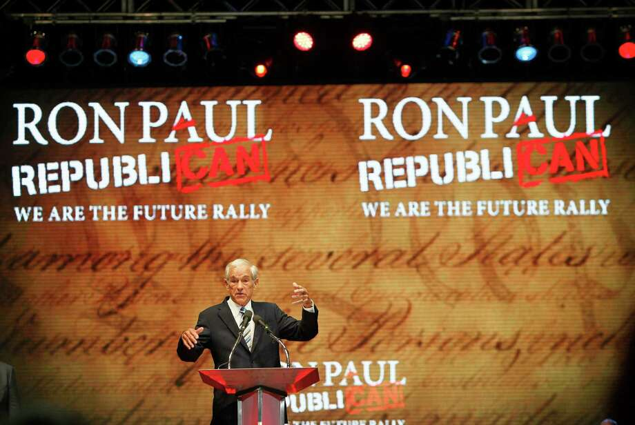 Rep. Ron Paul (R-Texas) speaks during his We are the Future Rally at the University of South Florida Sun Dome on Sunday, August 26, 2012, in Tampa, Florida. (Daniel Wallace/Tampa Bay Times/MCT) Photo: Daniel Wallace, McClatchy-Tribune News Service / Tampa Bay Times