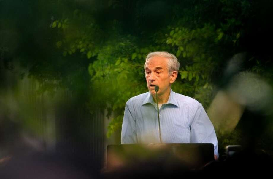 GOP presidential candidate Ron Paul speaks to supporters at a rally in Main Plaza on Thursday, April 12, 2012.