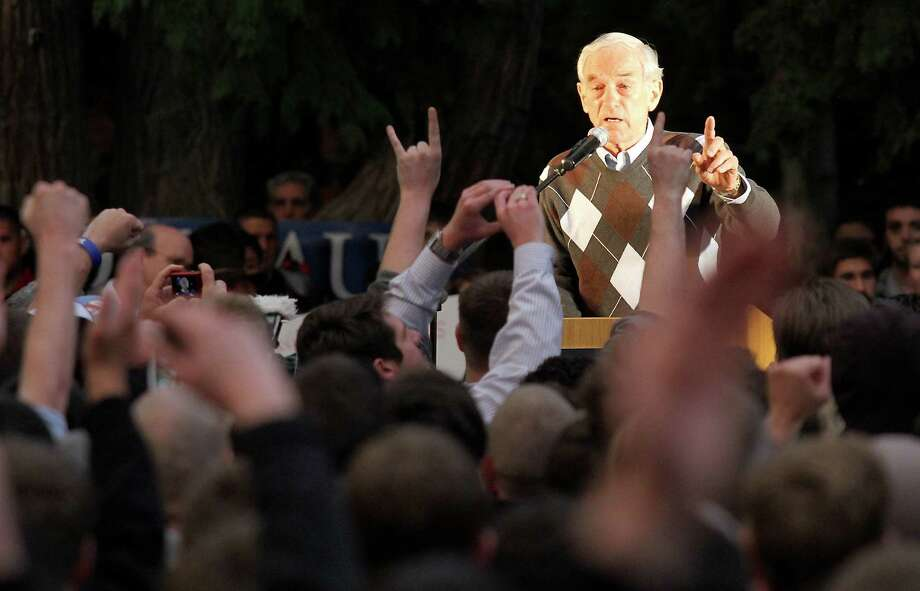 Ron Paul speaks to a crowd gathered in the free speech area at California State University Chico in Chico, Calif., Tuesday April 3, 2012. Photo: Bill Husa, Associated Press / Chico Enterprise-Record