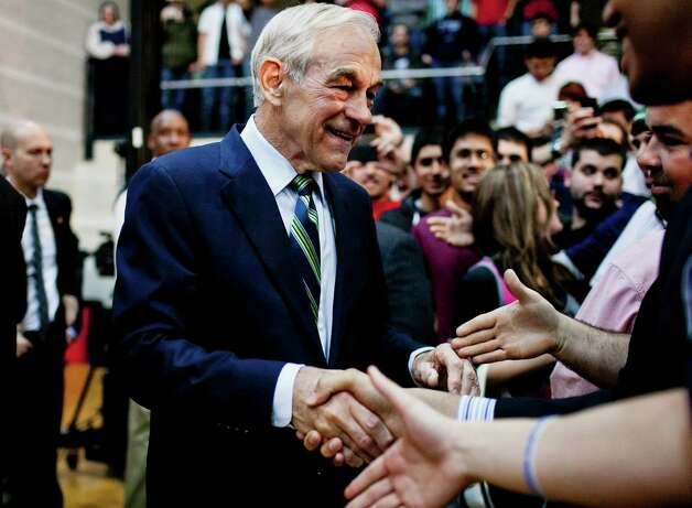 Ron Paul greets supporters during a town hall meeting at the University of Maryland on March 28, 2012 in College Park, Maryland. Photo: T.J. Kirkpatrick, Getty Images / 2012 Getty Images