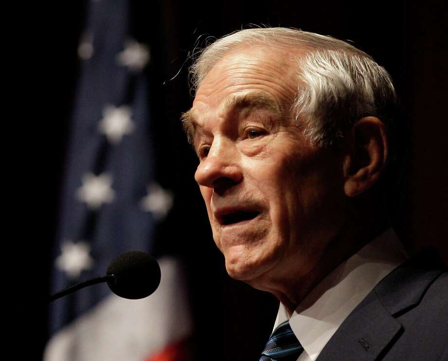 Republican presidential candidate, Rep. Ron Paul, R-Texas speaks during a rally, Friday, March 9, 2012, in Topeka, Kan. (AP Photo/Charlie Riedel) Photo: Charlie Riedel, Associated Press / AP