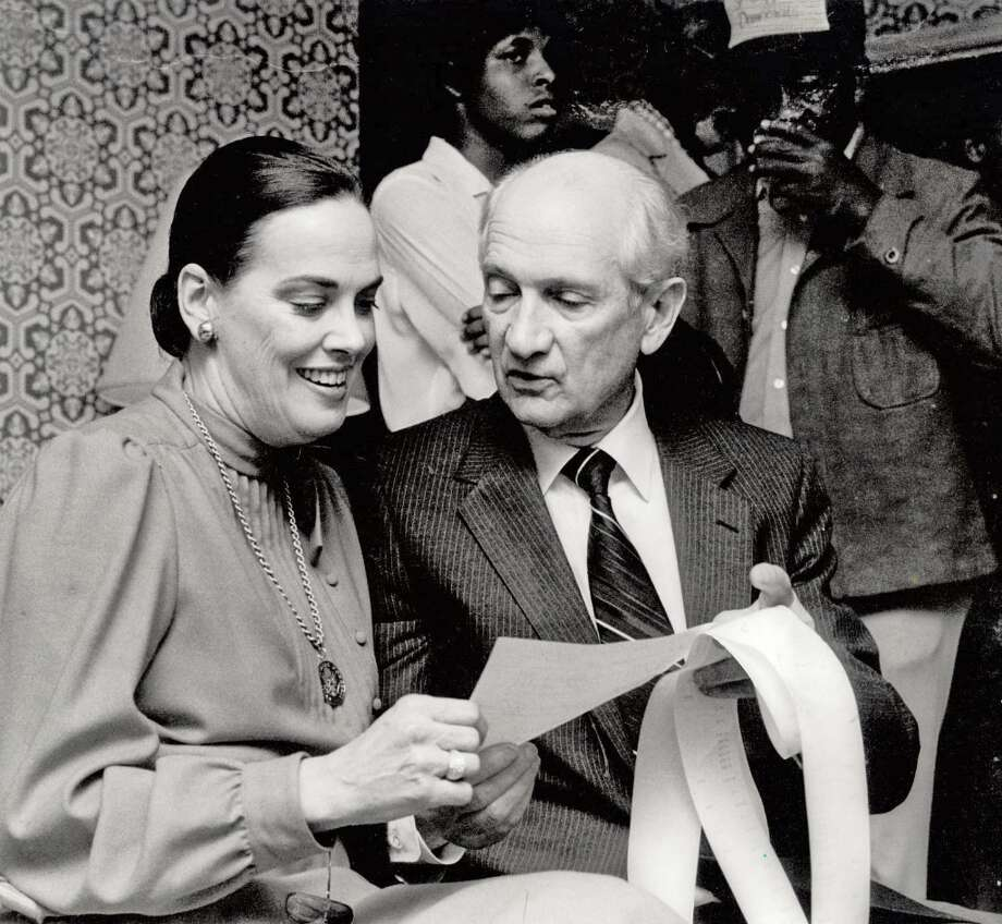 Charlotte and Jack Brooks look over election results during a 1982 election. (Beaumont Enterprise)