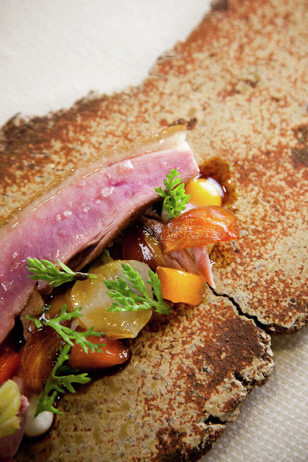 Fifth course: Aged duck, maple, persimmon (Creel Films)
