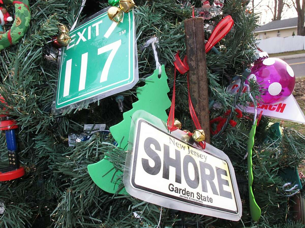 Hand-made ornaments adorn an artificial Christmas tree, which has become a symbol of hope in Union Beach, N.J.
