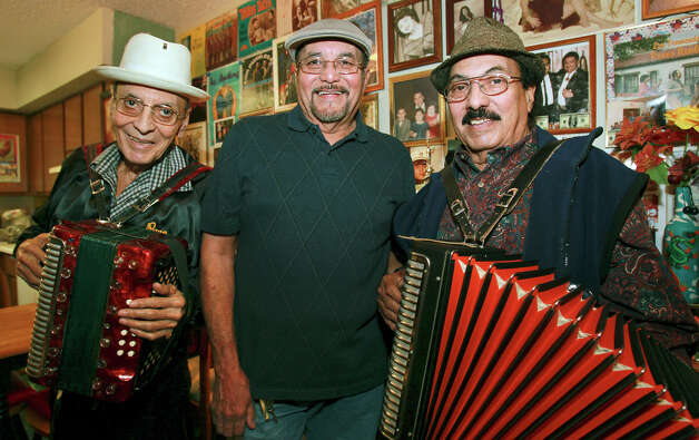 "Conjunto group ""Pavo Reales"", including (from left) Salvador ""Pavo"" Garcia, Larry Garcia and Eddie ""Lalo"" Torres,  gathers on December 14, 2012 to promote their benefit performance for the Lerma Nite Club building. Photo: Tom Reel, San Antonio Express-News / ©2012 San Antono Express-News"