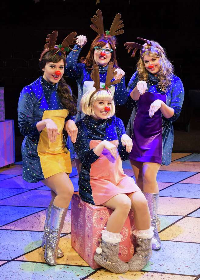"Chelsea Ryan McCurdy, clockwise from top, Christina Stroup, Holland Vavra Peters and Rachael Logue sing in the holidays, '60s girl-group style, in Stages' production of ""Winter Wonderettes."" Photo: Bruce Bennett"