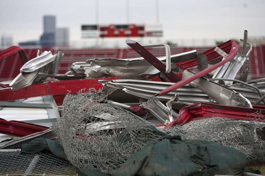 Remnants from Robertson Stadium is seen during its demolition on December 10. (Cody Duty / Chronicle)