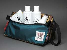 Ursa Major x Topo Designs limited edition holiday '12 dopp kit containing UM's Stellar Shave Cream, Fantastic Face Wash, 4-in-1 Essential Face Tonic and Fortifying Face Balm.