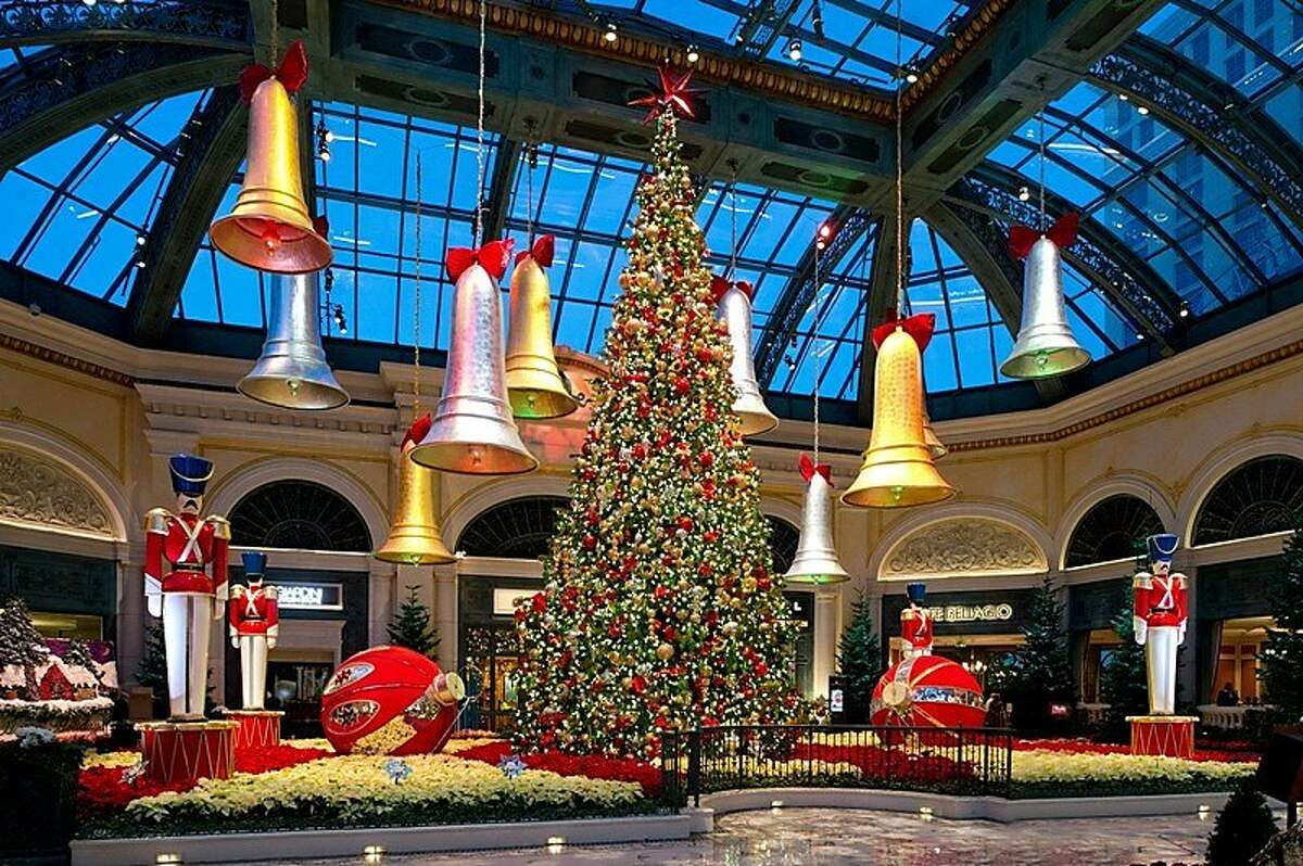 Silver and gold bells hang over Bellagio's 45-foot-tall Shasta fir, thelargest holiday tree ever displayed at the Las Vegas resort. More than 2,500 assorted ornaments and10,000 white energy-saving LED lights adorn the Christmas tree on view at Bellagio in Las Vegas through Jan. 5.