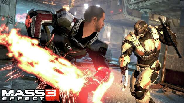 Mass Effect 3  by Electronic Arts retails for $60 for Xbox 360, PS 3, PC   Plays addictingly fun. Looks great. Challenging. Rated  M  for blood, partial nudity, sexual content, strong language, violence. Four out of four stars. Photo: Provided