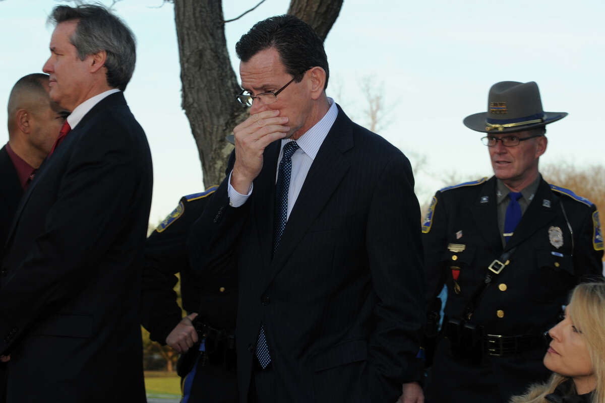 Gov. Dannel Malloy arrives at a press conference in Newtown, Conn., to speak about the mass shooting at Sandy Hook Elementary School Dec. 14th, 2012.