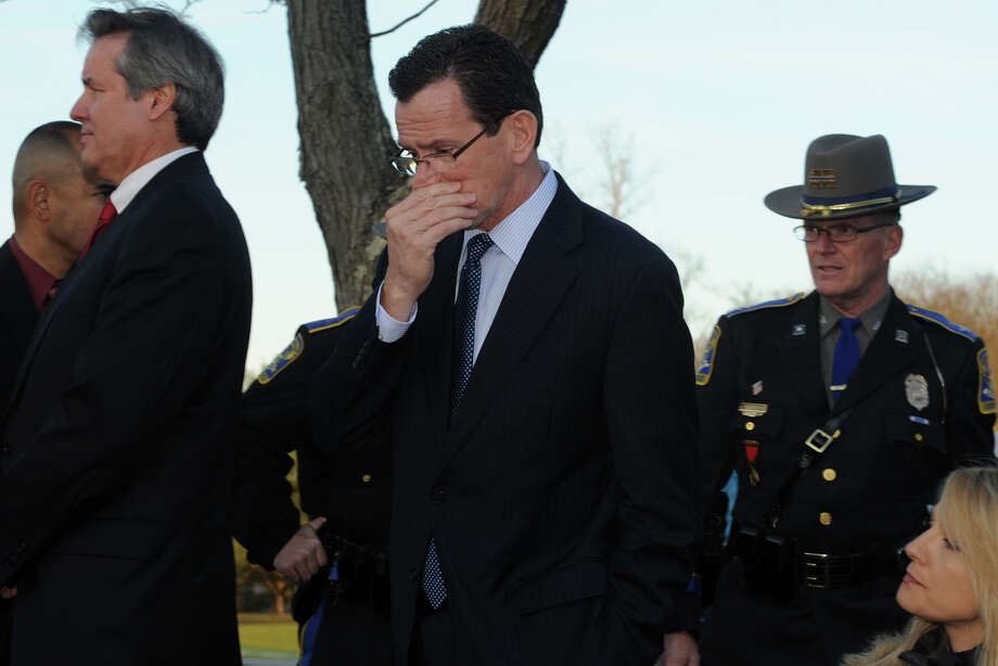 Gov. Dannel Malloy arrives at a press conference in Newtown, Conn., to speak about the mass shooting at Sandy Hook Elementary School Dec. 14th, 2012. Photo: Ned Gerard / Connecticut Post