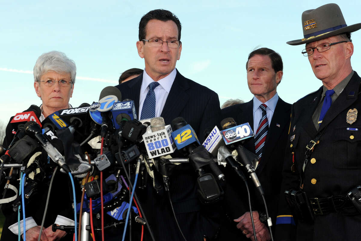 Gov. Dannel Malloy speaks at a press conference in Newtown, Conn., following the mass shooting at Sandy Hook Elementary School Dec. 14th, 2012.