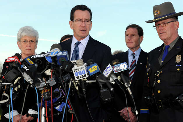 Gov. Dannel Malloy speaks at a press conference in Newtown, Conn., following the mass shooting at Sandy Hook Elementary School Dec. 14th, 2012. Photo: Ned Gerard / Connecticut Post