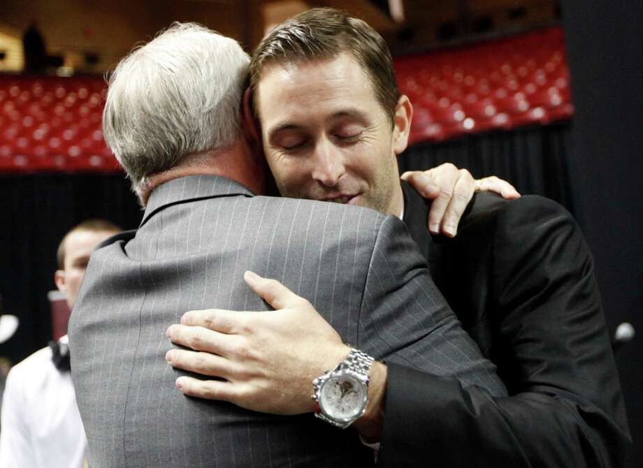 Texas Tech head coach Kliff Kingsbury is is greeted by Texas Tech University System Board of Regent Member John Scovell during his introductory press conference in Lubbock, Texas, Friday, Dec. 14, 2012.(AP Photo/Lubbock Avalanche-Journal,Stephen Spillman) Photo: Stephen Spillman, Associated Press / Lubbock Avalanche-Journal