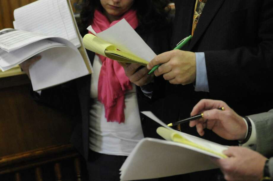 Ballot counting in the 46th senate district race between Democrat Celicia Tkaczyk and Republican George Amedore at the  Montgomery County Courthouse in Fonda., NY Friday Dec. 14, 2012. (Michael P. Farrell/Times Union) Photo: Michael P. Farrell