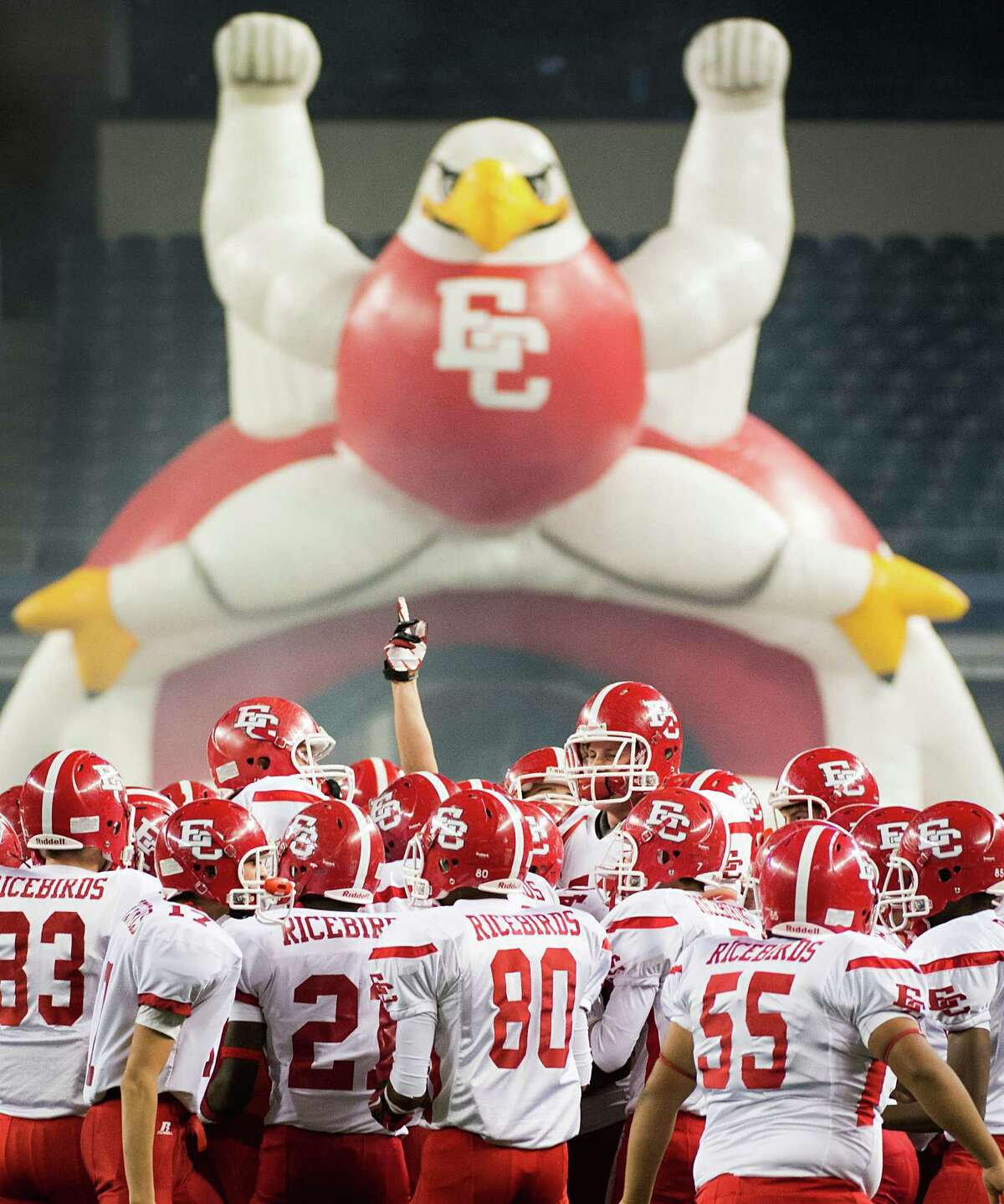 El Campo players take the field to face Stephenville in the Class 3A Division I high school football final at Cowboys Stadium on Friday, Dec. 14, 2012, in Arlington. Smiley N. Pool / Houston Chronicle )