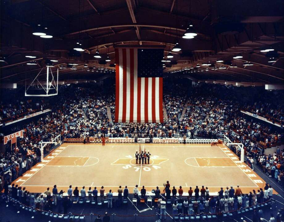 This undated photo provided by the University of Tennessee shows the Stokely Athletics Center in Knoxville, Tenn., before a basketball game. The building that served as Tennessee's home basketball court during the 1960s and 1970s is about to close its doors. A full use for all the land currently occupied by Stokely hasn't been decided. (AP Photo/University of Tennessee)