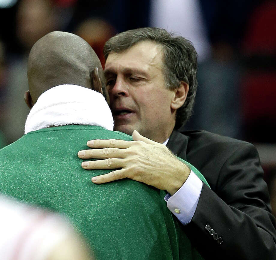 Rockets coach Kevin McHale, right, had a touching moment with former player Kevin Garnett after Friday's win over the Celtics. Photo: David J. Phillip, STF / AP