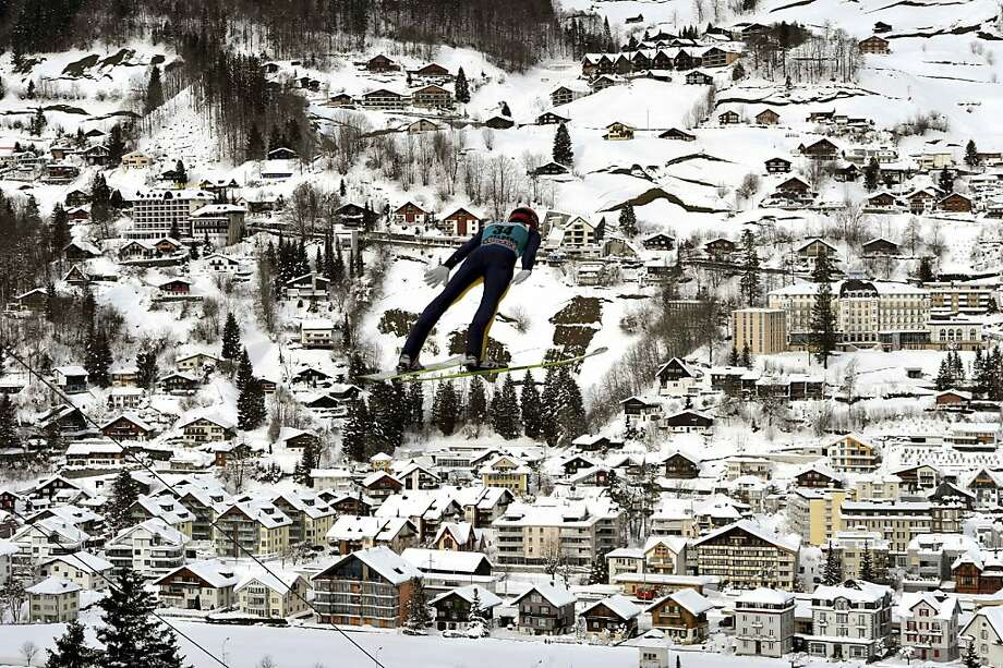 Danny Queck of Germany jumps during the training and qualification day at the Ski jumping FIS World Cup in Engelberg, Switzerland on Friday, Dec.  14, 2012. Photo: Sigi Tischler, Associated Press
