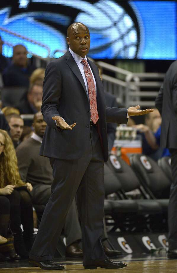 Orlando Magic head coach Jacque Vaughn reacts to a call by an official during the second half of an NBA basketball game against the Golden State Warriors in Orlando, Fla., Friday, Dec. 14, 2012.(AP Photo/Phelan M. Ebenhack) Photo: Phelan M. Ebenhack, Associated Press