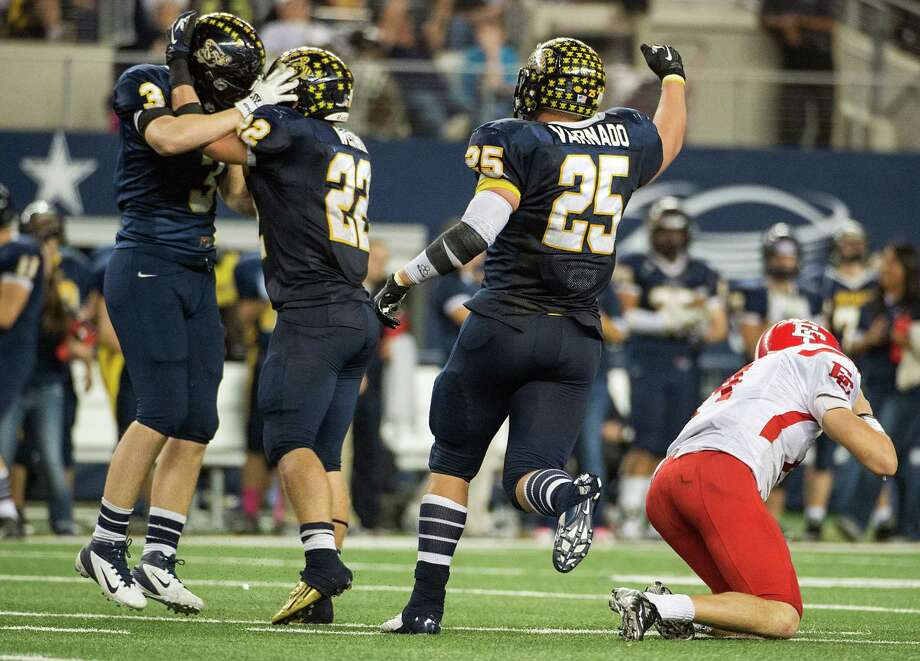 Stephenville defensive end Aaron Vanden Berge (3) celebrates with Witt Westbrook (22) and Chase Varnado (25) after sacking El Campo quarterback  Bryce Brandl (14) during the fourth quarter. Photo: Smiley N. Pool, Houston Chronicle / © 2012  Houston Chronicle