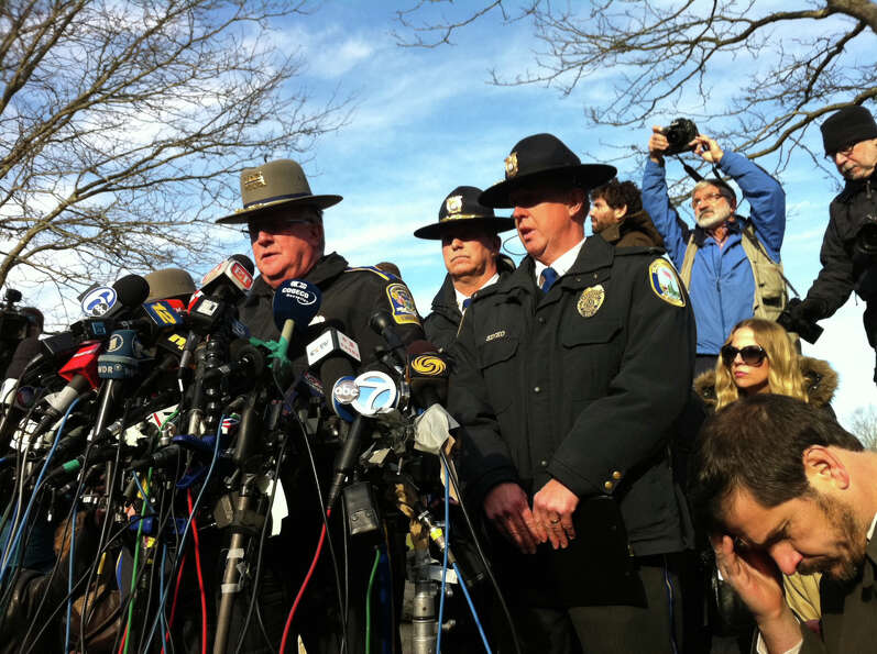 Connecticut State Police Lt Paul Vance leads a press conference at Treadwell Park in Newtown, Conn.