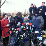Media gather at Treadwell Park in Newtown, Conn. for a press briefing by State Police Lt. Paul Vance on Saturday, Dec. 15, 2012.