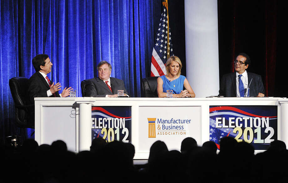 "FILE - In this June 27, 2012 file photo, from left, moderator Chris Wallace kicks off a discussion with panelists Dick Morris, Laura Ingraham and Charles Krauthammer at the Manufacturer & Business Association's 107th Annual Event at the Bayfront Convention Center in Erie, Pa. Ingraham will soon be back on the air after taking a short break. Courtside Entertainment Group says it will distribute ""The Laura Ingraham Show"" starting Jan. 2, 2013 Meanwhile, she will boost her audience through a deal with Lauchpad Digital Media, which will stream the three-hour daily program and make it available for download on podcast.(AP Photo/Erie Times-News, Greg Wohlford) Photo: Greg Wohlford"
