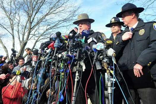 State Police spokesman J. Paul Vance speaks at a press conference about the mass shooting at Sandy Hook Elementary School Saturday, Dec.15, 2012 in Newtown. Photo: Michael Duffy