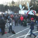 This is the scene at Treadwell Park in Newtown at a press conference about the mass shooting at Sandy Hook Elementary School Saturday, Dec. 15, 2012.