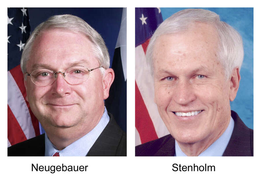 **ADVANCE FOR WEEKEND AUG. 21-22 **These are undated file photos of Republican Rep. Randy Neugebauer, left, and Democratic Rep. Charlie Stenholm who are in a tight election battle  in the redrawn District 19 race. (AP Photo/HO, File).     HOUCHRON CAPTION (09/12/2004) SECMETRO:   RANDY NEUGEBAUER, REPUBLICAN.     HOUCHRON CAPTION (09/12/2004) SECMETRO:   CHARLIE STENHOLM, DEMOCRAT.     HOUCHRON CAPTION (11/03/2004) SECSPECIAL: Neugebauer.   SPECIAL SECTION: ELECTION 2004: CONGRESS. Photo: HO / CAMPAIGNS