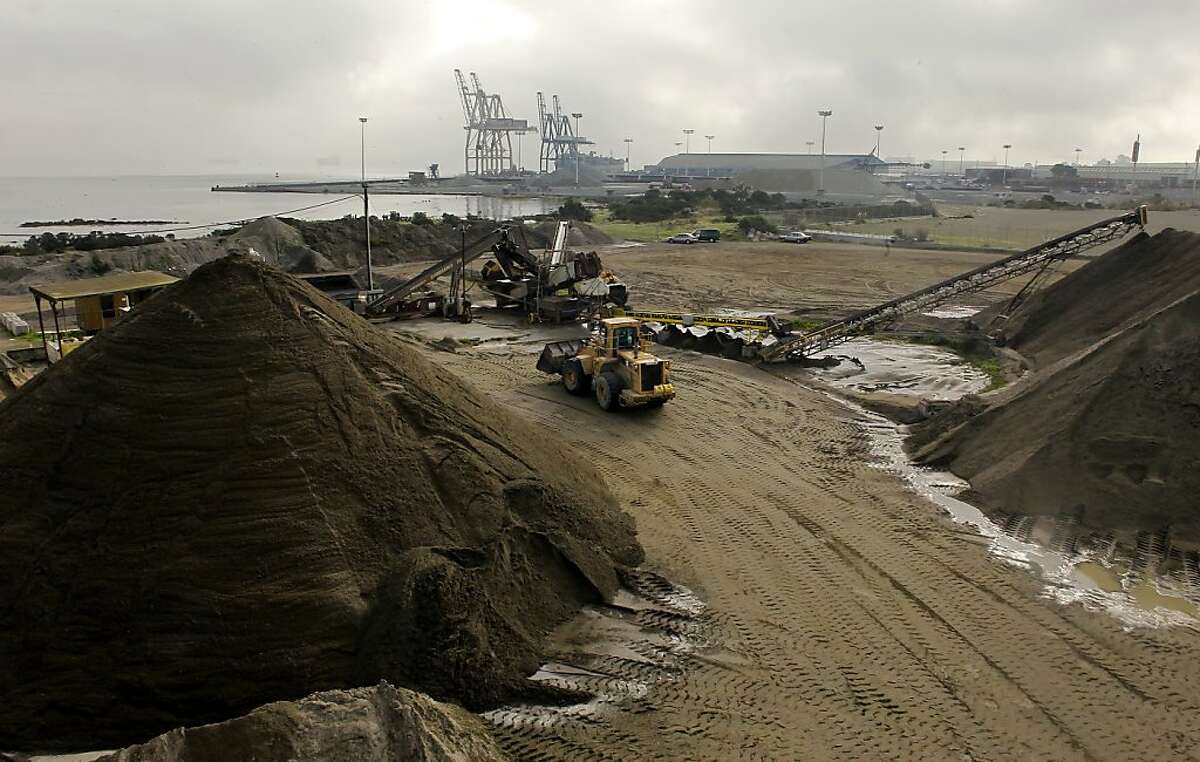Sand harvested from the bottom of San Francisco Bay is processed at Hanson Aggregates in San Francisco, Calif. Calif. on Tuesday Dec. 11, 2012. Controversy is growing over sand mining in San Francisco Bay and whether it is contributing to erosion at Ocean Beach.