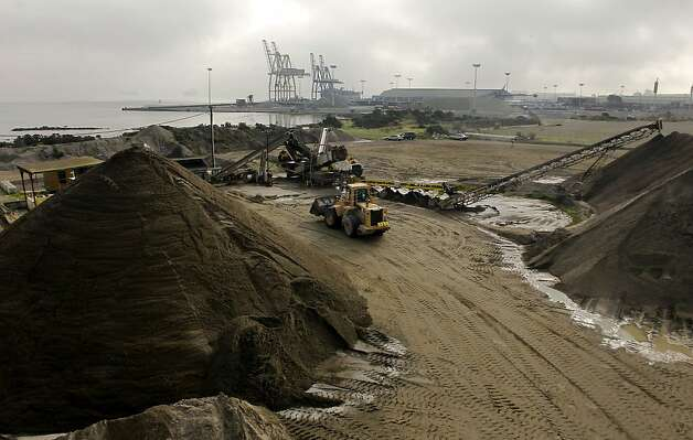 Sand harvested from the bottom of San Francisco Bay is processed at Hanson Aggregates in San Francisco, Calif. Calif. on Tuesday Dec. 11, 2012. Controversy is growing over sand mining in San Francisco Bay and whether it is contributing to erosion at Ocean Beach. Photo: Michael Macor, The Chronicle