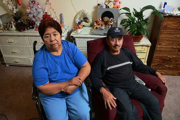 Alicia Gomez, of Napa, has been confined to a wheelchair since suffering a stroke a few years ago and relies on her husband, Belem, to care for her. Their housing expenses are too high for them to afford other basic necessities, said Gomez, on December 13, 2012 in Napa, Calif. Photo: Sean Havey, The Chronicle