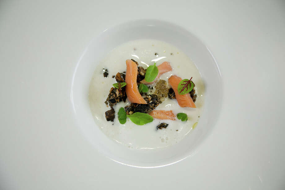 Third course: Sunchoke, granola, trout roe (Creel Films)