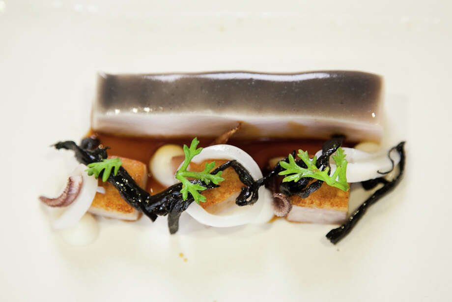 Fifth course: Black chicken, trumpet, truffle, salsify, squid (Creel Films)